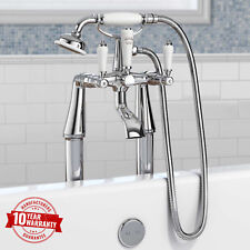 Traditional Freestanding Bath Shower Mixer Tap Chrome With Cross Head Handles