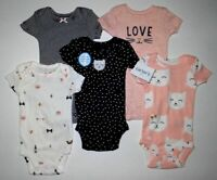 New Carter's Girls Kitty Cat 5 Pack Bodysuits Tops NWT PR NB 3 6m 9m 12m 18m 24m