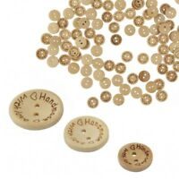 100pcs 2 Holes Natural Wooden Handmade Love Heart Wood Sewing Buttons Scrapbook