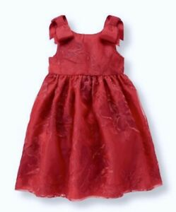 JANIE and JACK Floral Organza w/ Bows Red Holiday Dress NEW Infant Girls 3-6 Mos