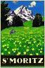 St Moritz Berge Schweiz Blechschild Schild gewölbt Tin Sign 20 x 30 cm CC0720