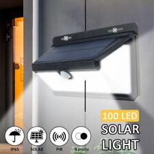 Outdoor 100 LED Solar Power PIR Motion Sensor Security Light Garden Wall Ligh UK
