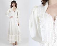 Vtg 70s Gunne Sax Dress Ivory Satin Boho Wedding Hippie Long Bridal Corset Maxi