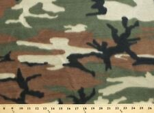Woodland Camouflage Green Brown Fleece Fabric Print by the Yard A505.05