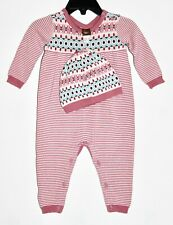 Tea Collection Baby Girl Romper 3-6M Pink Mauve Knit Stripe Long Sleeve Cap