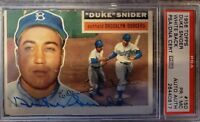 1956 Signed Topps Duke Snider PSA/DNA White Brooklyn Dodgers 150 HOF Autographed