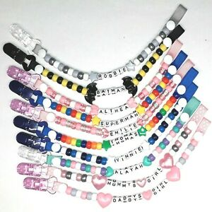Personalised Dummy Clip Strap Boys Girls Any Name PLASTIC OR METAL Many Choices