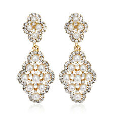 New Fashion KC Gold Plated Clear Rhinestone Glass White Imitation Pearl Earrings