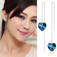 Dangle Silver Plated Heart Shape Long Chain Earrings Crystal Jewelry