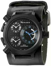 NEW Nemesis KIN080KL Men's 3-Time Zone Blue Accent Black Leather Cuff Watch 30m