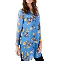 ALFANI NEW Women's Floral Sheer Striped Sleeve Tunic Shirt Top TEDO