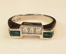 Estate 14K 585 White Gold, Emerald, Princess Cut Diamond Band Ring *Size 6.5*