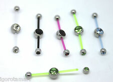 New PTFE Two Way Double Piercing Pierced Belly Navel Jewelled Ball Bar Ends