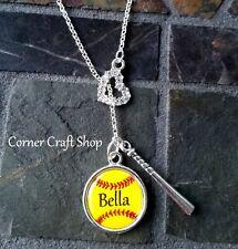 "18"" Personalized Name Team Softball Bat Rhinestone Heart Charm Lariat Y Necklace"