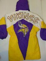 Large Vintage Minnesota Vikings NFL Trench Coat Jacket Stadium Winter Snow Coat