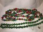 "2 Vintage Christmas Mercury Glass Bead Garland Multi Color 85"" Green 33"" Tree"