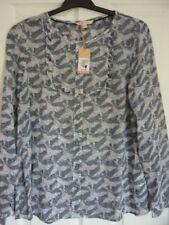 White Stuff White Pink Pale Blue Navy Trixie Ruffle Shirt UK 12 EUR 40 US 8 BN