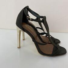 Next Size 3.5 Khaki Green Heels Shoes Gold Heel T Bar Buckle Open Toe High