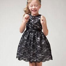 Baby Girls Kids Summer Princess Sleeveless Lace Bridesmaid Plain Tutu Dresses