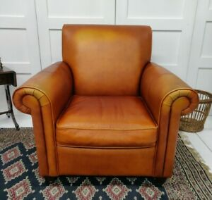Leather Armchair Brown Orange Tan Chunky Solid Worn delivery available
