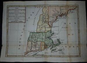 1782 NEW ENGLAND ORIG. MAP BY BRION DE LA TOUR / D'AUBERTEUIL