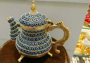 Swarovski Handmade Turkish British Kitchen Tea Pot Copper Tea Makers Blue Eyes