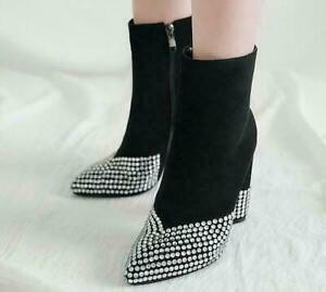 Womens High Heel Rhinestones Suede Boots Pointy Toe Side Zip Ankle Shoe SZ 35-46