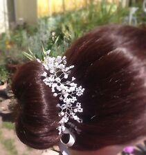 """Gypsophila wedding Bun wrap,Baby's breath, crystals, pearls, bridesmaid,boho,10"""""""