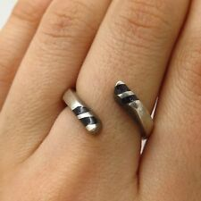 Vtg Mexico 925 Sterling Silver Black Onyx Wide Spiral Snake Ring Size 6.5