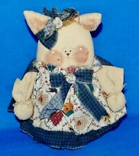"Doll Pig Hand Made Cloth Fabric 7"" Vintage Hand Crafted Plush Bean Bag"