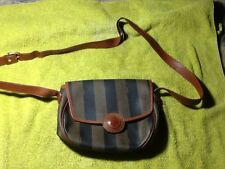 Fendi coated canvas vintage cross body striped brown/black/leather trim bag