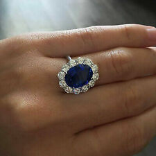 2.50 Ct Oval Blue Sapphire 14k White Gold Ring