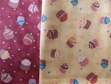 WtW Fabric Quilt Stash Craft Lot 2 Kellys Sweet Treats Cupcake Mueller 22188 Dot