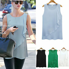 Unbranded Women's Chiffon Crew Neck Vest Top, Strappy, Cami Tops & Shirts