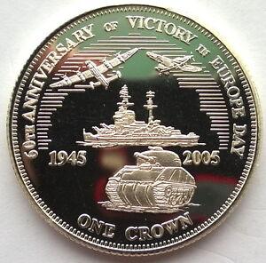 Tristan Da Cunha 2005 Tank Battleship Crown Silver Coin,Proof