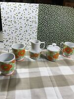 Poppy Sugar Bowl And Creamer With 3 Porcelain Cups Made In Japan