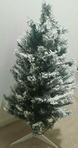 Indoor Outdoor White Frosted Flocked Pre-Lit Artificial Christmas Tree + Stand