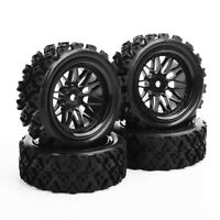 4Pcs Rally Tires&Wheel Rim 12mm Hex For HSP HPI RC 1:10 Off Road Model Car Tyres