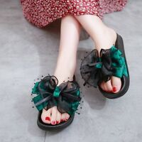 Women's Beach Lace Sandals Slipers Platform Wedge Heels Casual Bowknot New Shoes