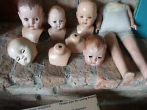 LARGE LOT - MIX COMPOSITION AND PLASTIC DOLL PARTS~TLC~TO RESTORE~PARTS
