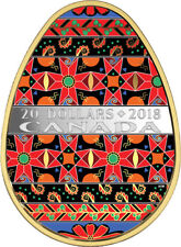 2018Golden Spring Pysanka'Egg-Shaped Color Gold-Plated Prf $20 .9999Silver(18385