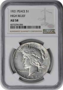 1921 Peace Silver Dollar High Relief AU58 NGC