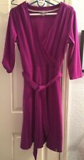 SMARTWOOL Maybell Purple Merino Wool Stretch 3/4 Sleeve Faux Wrap Dress L