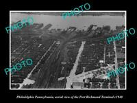 OLD LARGE HISTORIC PHOTO OF PHILADELPHIA PA AERIAL VIEW OF PORT RICHMOND c1940