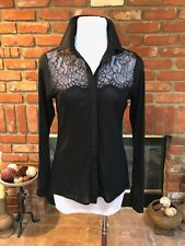 VTG Vintage 90's BEBE sz M Black Sheer Mesh Lace Overlay Long Sleeve Shirt Top