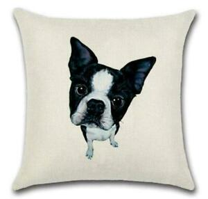 "BOSTON TERRIER 🐶 Heavy Linen CUSHION COVER 🐶18""x18"" (45cm) 🍁CANADIAN SELLER🍁"