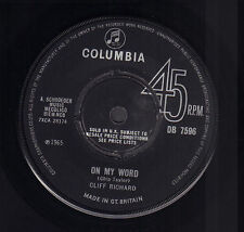 "CLIFF RICHARD & SHADOWS ‎– On My Word/Just A Little Bit Too Late (1965 UK 7"")"