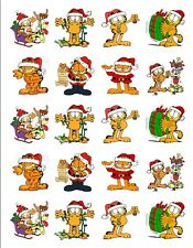 "20  2""x2"" Glossy Square Stickers/Seals Garfield Christmas Buy 3 get 1 free(s102)"