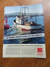 1953  GM General Motors Diesel Ad California Fisherman San Pedro California Maid
