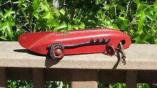 1930s Streamline Kokomo Electric Racecar Red Arrow Pressed Steel Toy w/ Track